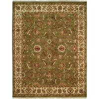 Lateef Green/Ivory Hand-Knotted Area Rug (8' Square)