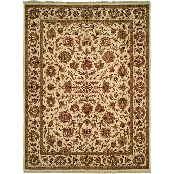 Lateef Ivory Wool Hand-knotted Area Rug (6' Square) - 6' Square
