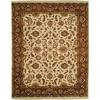 Lateef Ivory/Mocha Hand-knotted Area Rug - 6' Square