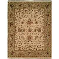 Pasha Ivory/Gold/Beige Wool Hand-knotted Round Area Rug (6' x 6')