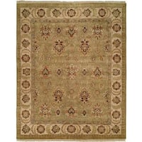 Pasha Light Green/Ivory Hand-knotted Wool Area Rug (10'0 Round)