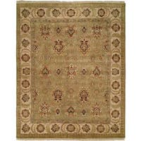 Pasha Light Green/Ivory Wool Hand-knotted Area Rug