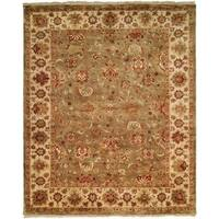 Royale Sage/Ivory Wool Floral Hand-knotted Area Rug
