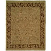 Sierra Green/Brown Wool Soumak Area Rug - 10' Round