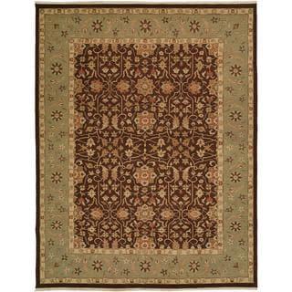 Sierra Ivory/Rust Wool Soumak Round Area Rug (10' x 10')
