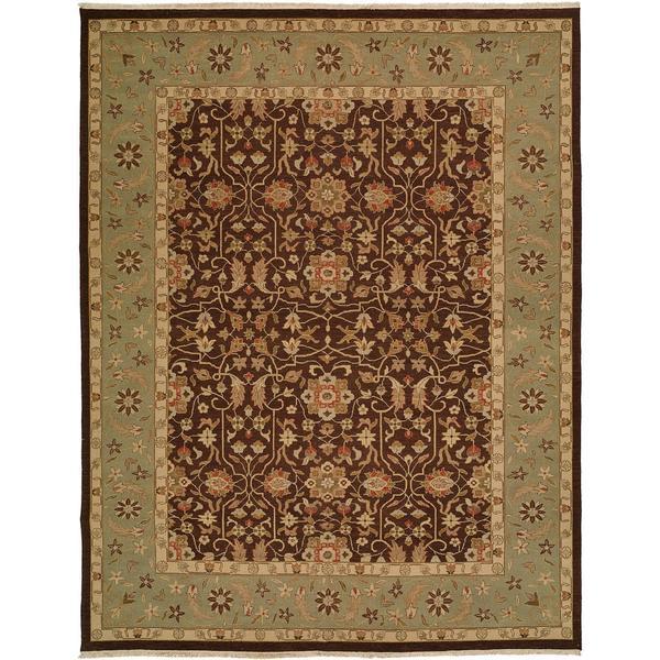Sierra Ivory/Rust Wool Soumak Round Area Rug - 10' x 10'