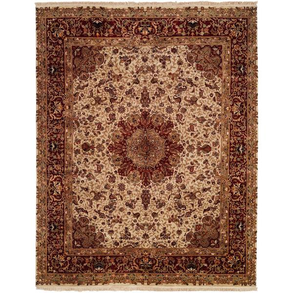 Tabriz Ivory/Red Wool/Silk Hand-knotted Area Rug (10' Round)