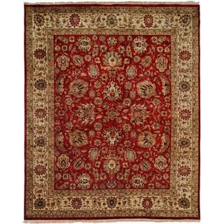 Tabriz Rust/Ivory Wool and Silk Hand-knotted Round Area Rug (6' x 6')