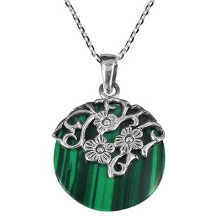 Daisy Vines Adorned Malachite Disc Sterling Silver Necklace (Thailand) - Green