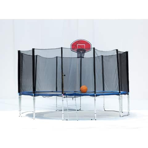 16FT Round Trampoline with Basketball Hoop Safety Enclosure Pad Ladder