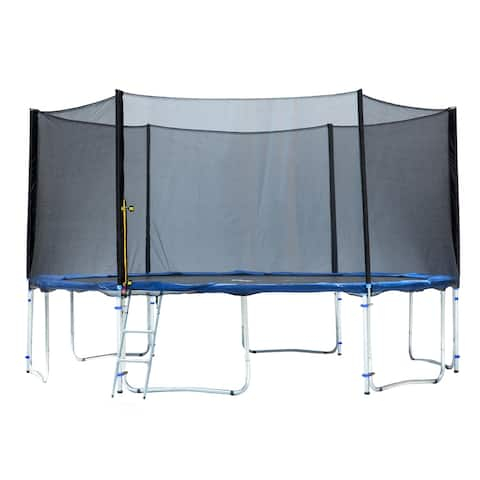 12FT Round Trampoline with Basketball Hoop Safety Enclosure Pad Ladder