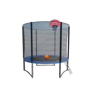 8FT Round Trampoline with Basketball Hoop Safety Enclosure Pad Ladder