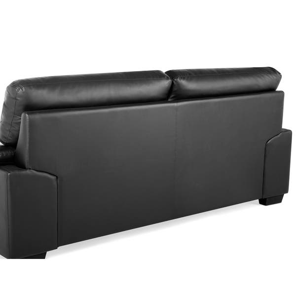 Shop Classic 3 Seater Leather Sofa - Black VOGAR - Free ...