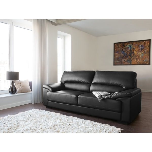 Shop Classic 3 Seater Leather Sofa - Black VOGAR - Free Shipping ...