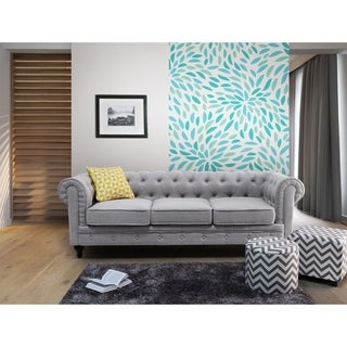 Tufted Fabric Sofa - Light Gray CHESTERFIELD