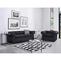 Tufted Leather Sofa - Black CHESTERFIELD
