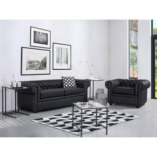 Tufted Leather Sofa   Black CHESTERFIELD