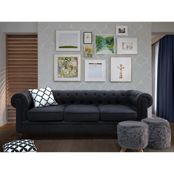 Tufted Fabric Sofa Charcoal Chesterfield