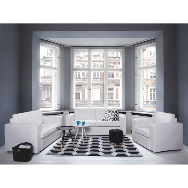 2 Seater Sofa White Leather HELSINKI