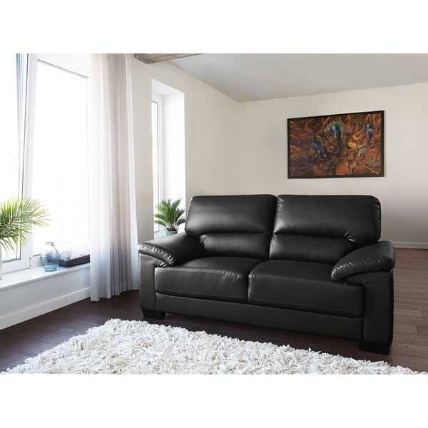 Classic 2 Seater Leather Sofa - Black VOGAR