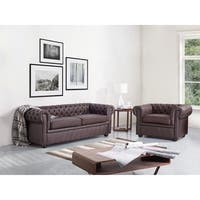Tufted Leather Sofa - Brown CHESTERFIELD