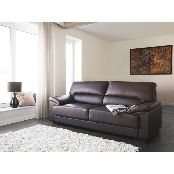 Shop Classic 3 Seater Leather Sofa - Brown VOGAR - Free Shipping ...
