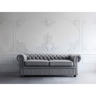 Tufted Leather Sofa - Grey Chesterfield