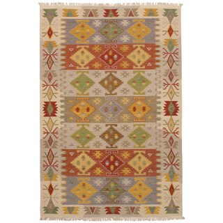 eCarpetGallery Flatweave Kashkoli Kilim Brown, Ivory Wool Kilim (6'3 x 9'4)