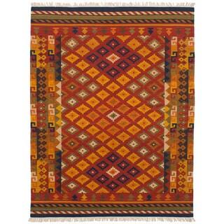 eCarpetGallery Flatweave Kashkoli Kilim Red Wool Kilim (5'8 x 7'3)