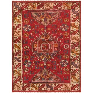 """Pasargad Vintage Oushak Hand-Knotted Lamb's Wool Rug (4' 3"""" X 5' 8"""") - 4' x 6'"""