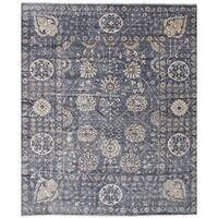 eCarpetGallery Hand-Knotted Jules Ushak Blue  Bamboo Silk Rug (8'1 x 9'10)
