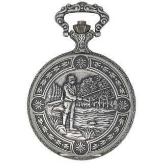 Dakota Men's Antique Silver Pocketwatch with Etched Fisherman