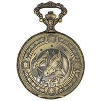 Dakota Antique Gold Pocketwatch with Etched Horses on Front Cover