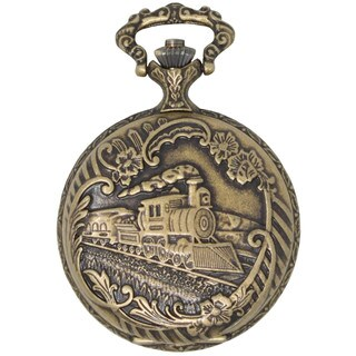 Dakota Antique Gold Pocketwatch with Etched Train on Front Cover