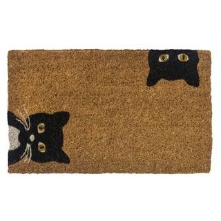 Peeping Cats Handwoven Coconut Fiber Doormat