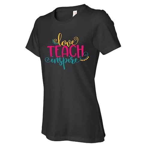 Teach Love Inspire women's black t shirts, Teacher Gift Nice t-shirt with saying