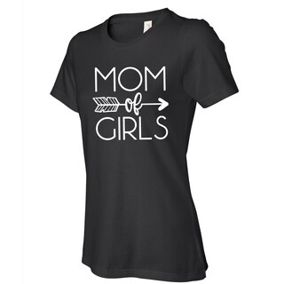 Mom of Girls women's black t shirts, Cute Mom t-shirt with saying