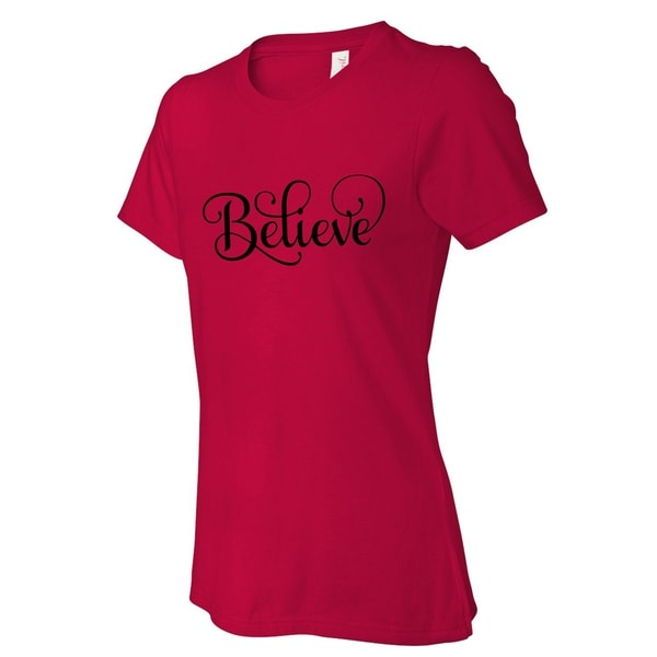106daf971 Shop Believe Christmas women's red t shirts, Funny t-shirt - On Sale - Free  Shipping On Orders Over $45 - Overstock - 18824635