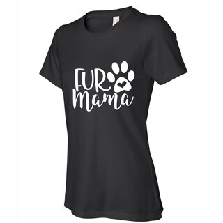 Fur Mama women's black dog lovers cat lovers t shirts, Funny t-shirt