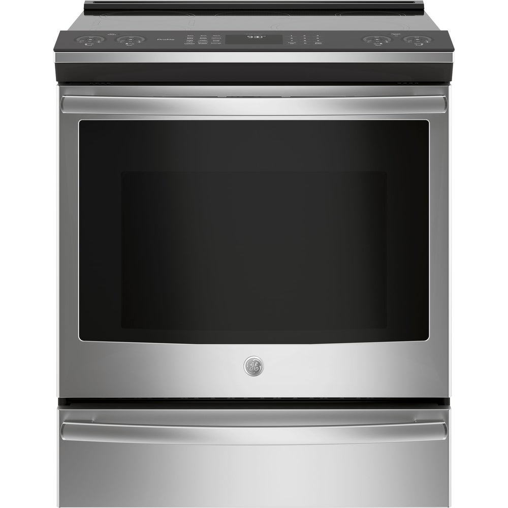 """GE  Profile Series 30"""" Slide-In Front Control Induction and Convection Ran - Stainless Steel (Electric Convection - CSA Listed)"""