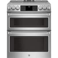 "GE Cafe Series 30"" Slide-In Front Control Induction and Convection Double Oven Range"