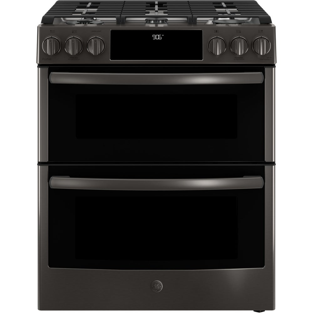 """GE  Profile Series 30"""" Slide-In Front Control Gas Double Oven Convection Ran (Assembled - Black)"""