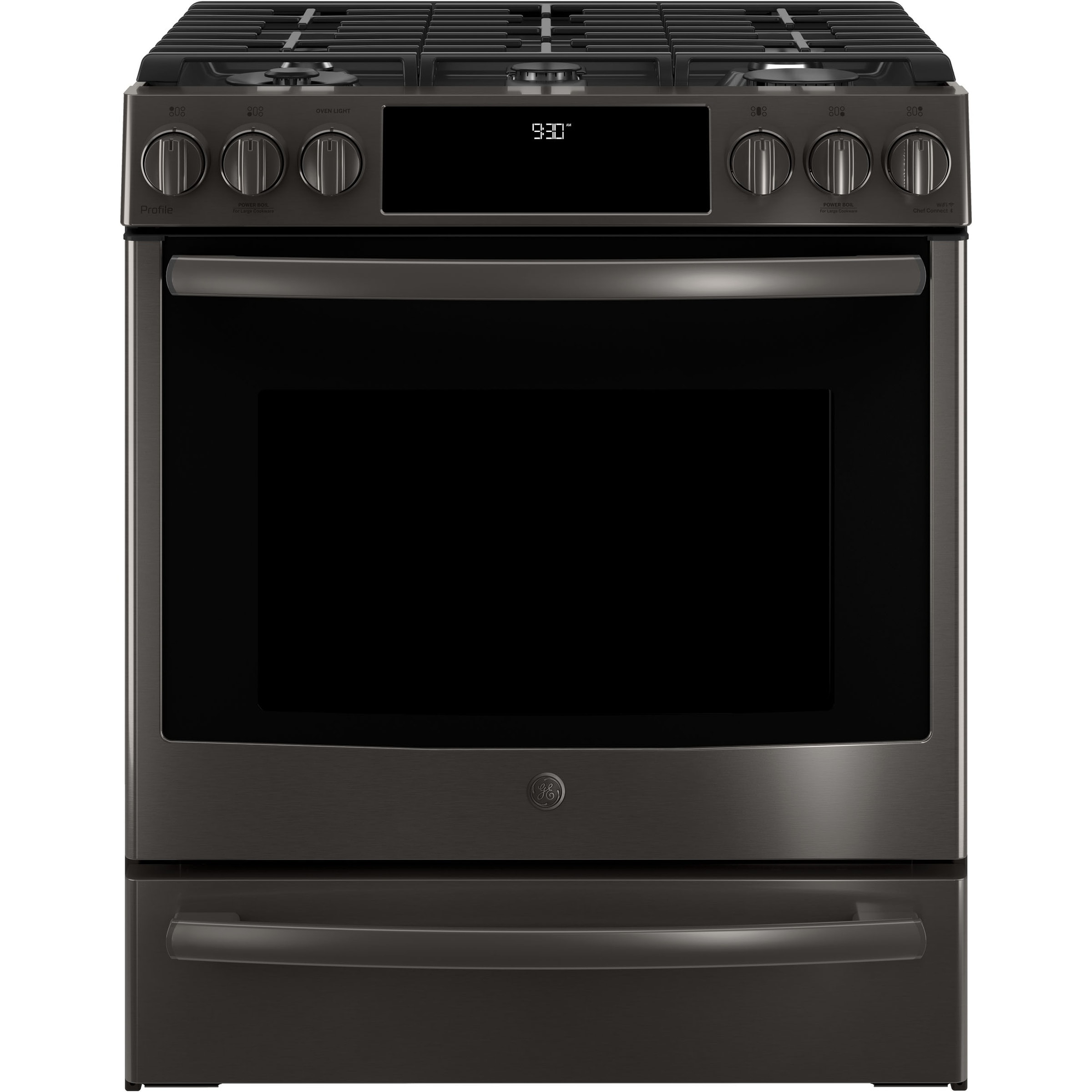 "GE Profile Series 30"" Slide-In Front Control Gas Range (A..."