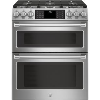 "GE Café Series 30"" Slide-In Front Control Dual-Fuel Double Oven with Convection Range"