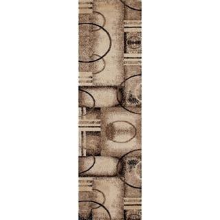 Abstract Geo Circles Wowen Cream Runner Rug - 2'2 x 8'