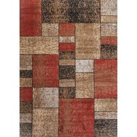 Squares Wowen Red Rug - 2' x 3'
