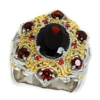 Michael Valitutti Palladium Silver Garnet & Orange Sapphire Ring