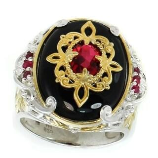 Michael Valitutti Palladium Silver Black Agate, Rubellite Quartz & Ruby Ring