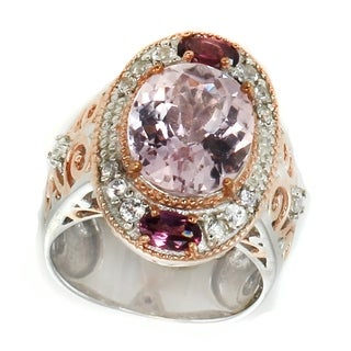 Michael Valitutti Palladium Silver Kunzite, Rhodolite & White Sapphire Ring