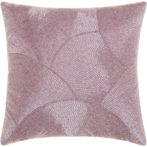 Mina Victory Luminecence Fan Design Lavender Throw Pillow (20-Inch X 20-Inch)